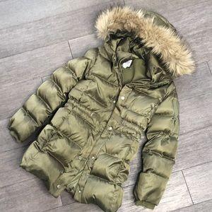 Gap warm winter long green jacket M
